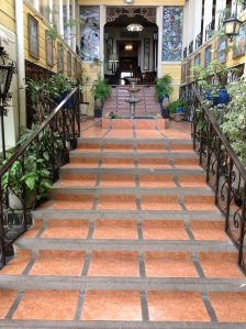 The stairs leading through the Don Carlos Hotel were we stayed two nights