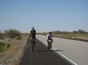 Stephen and Dave riding away from the Dunes