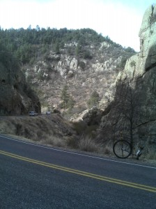 Narrow canyon I could throw a stone across on the way to Emory Pass