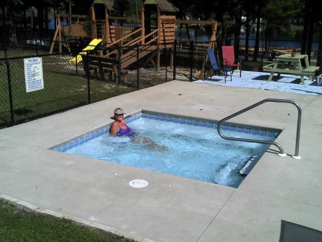 Crew Enjoying Jacuzzi at Sunset King Lake RV Resort